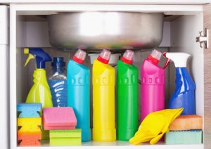 How do you organize household cleaning supplies